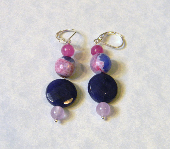 Shades of Pink, Purple and Lavender Dyed Jade, Amethyst and Agate Earrings.