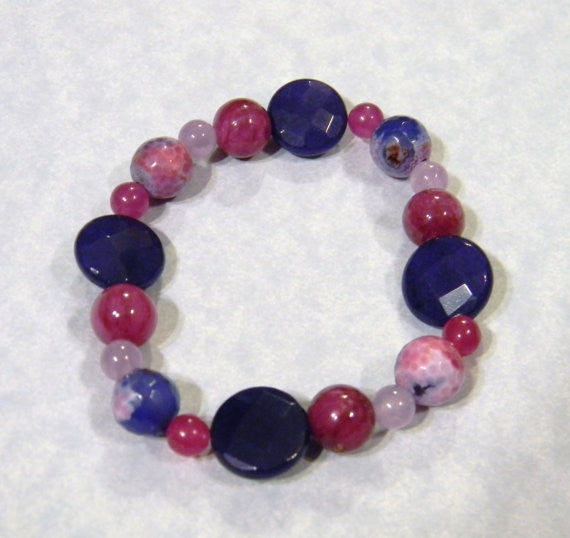 Shades of Pink, Purple and Lavender, Dyed Jade, Dyed Agate & Amethyst Stretch Bracelet