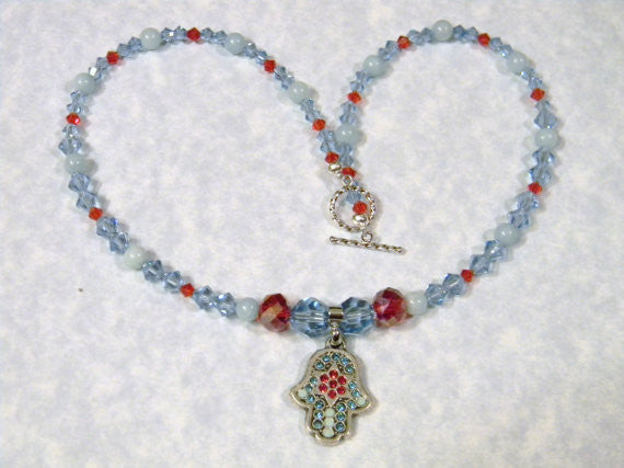 Turquoise and Red Crystal Hamsa & Jewish Star Pendant on Necklace of Crystals and Amazonite Beads