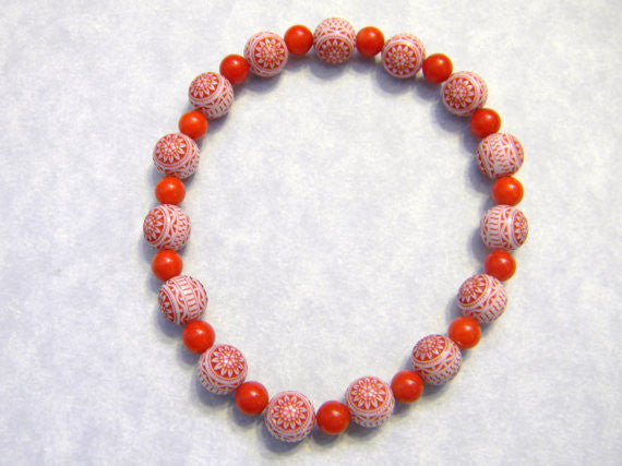 Red Jade and German Style Red and White German Lucite Bead Stretch Bracelet
