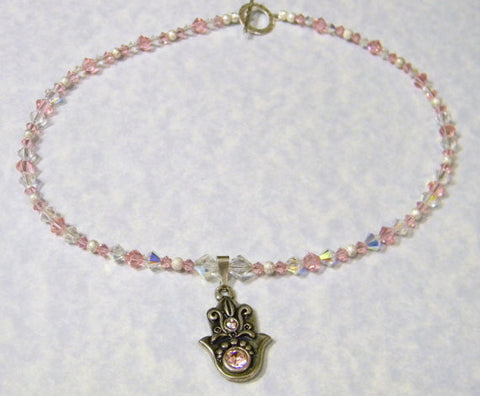 Pewter, Silver and Pink & Clear Crystal Hamsa Pendant Necklace