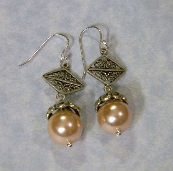 Peach Pearl and Silver Filigree Earrings