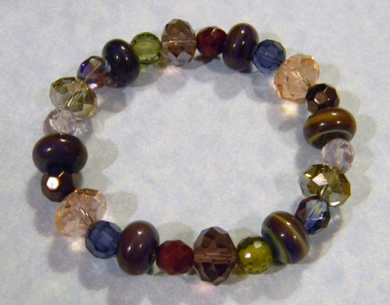 Muted Colored Art Glass Lampwork, Crystal and CZ Stretch Bracelet