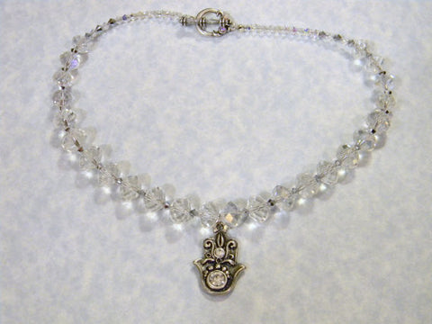 Pewter and Clear Crystal Hamsa Pendant Necklace