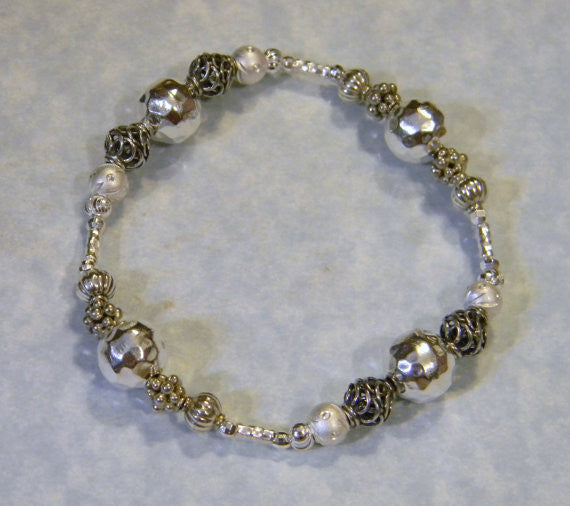All Silver Thai Karen, Bali and Sterling Stretch Bracelet