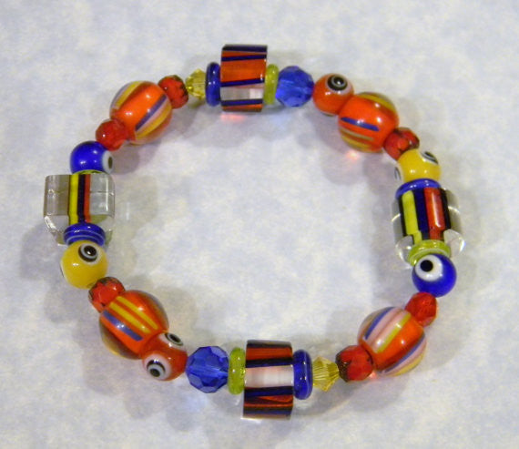 Red, Yellow & Blue Furnace Cane Bead, Glass, Crystal, Cathedral and Evil Eye Bead Stretch Bracelet