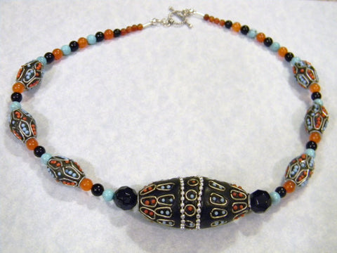 Kashmiri Lac Bead and Gemstone Necklace