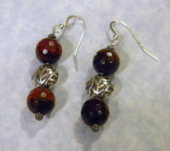 Red Tigers Eye and Bali Silver Drop Earrings