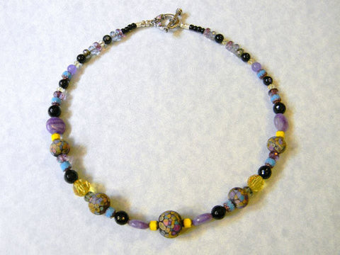 Black, Yellow & Purple Art Glass Necklace with Onyx, Lavender Quartz, Crystal & Cathedral Beads