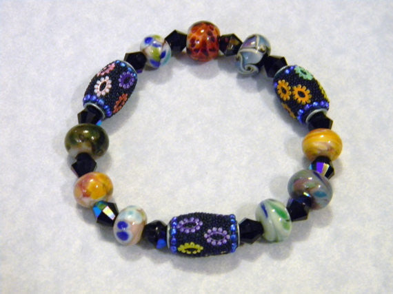 Multicolor Kashmiri Lac Bead and Art Glass Lampwork and Glass Bead Stretch Bracelet