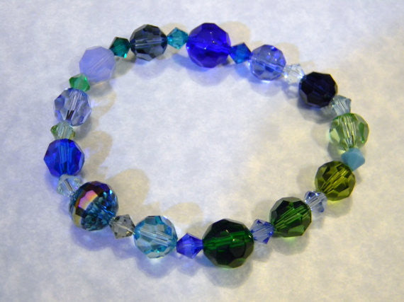 Shades of Blue and Green Crystal and Faceted Glass Stretch Bracelet