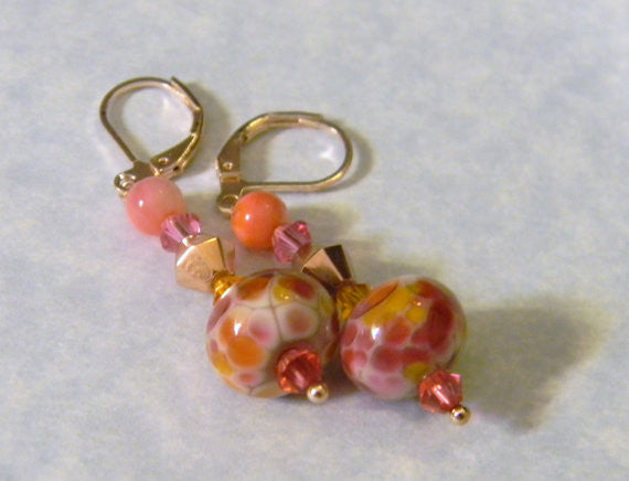 Shades of Pink, Coral and Yellow Art Glass Lampwork and Crystal Drop Earrings