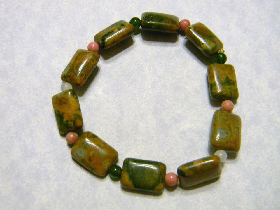 Stretch Bracelet with Mottled Green & Gold Jasper Rectangles with Rhodonite, Jadeite & Agate