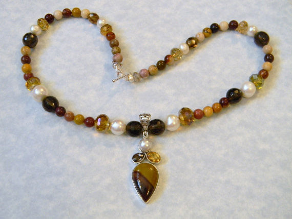 Moukaite, Pearl, Citrine, Smoky Quartz and Crystal Pendant and Necklace