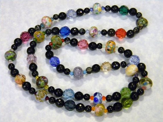 Orphan Art Glass Lampwork Bead, Crystal, Black Agate and Onyx Necklace