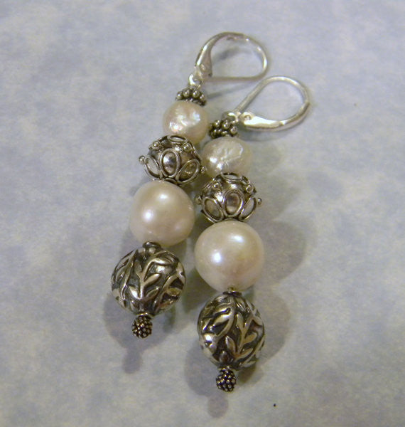 Bali Silver and Freshwater Pearl Drop Earrings