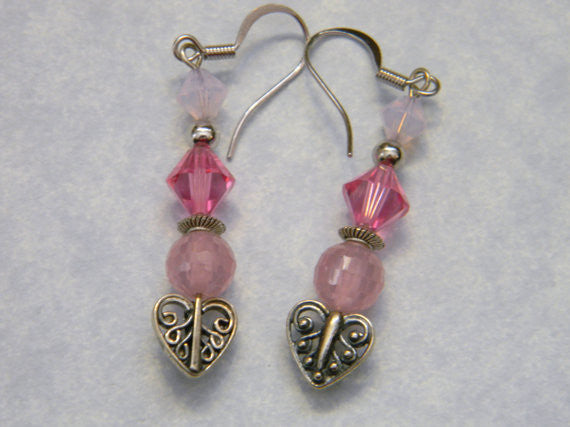 Shades of Pink CZ, Crystal and Silver Earrings on Filigree Heart Shaped Headpin