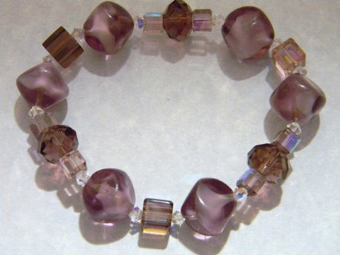 Huge Purple Glass Nugget and Crystal Stretch Bracelet