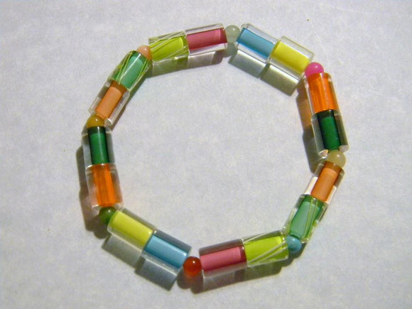 Tropical & Day-glo Colored Cane Furnace Beads with Same Colored Gemstone Stretch Bracelet