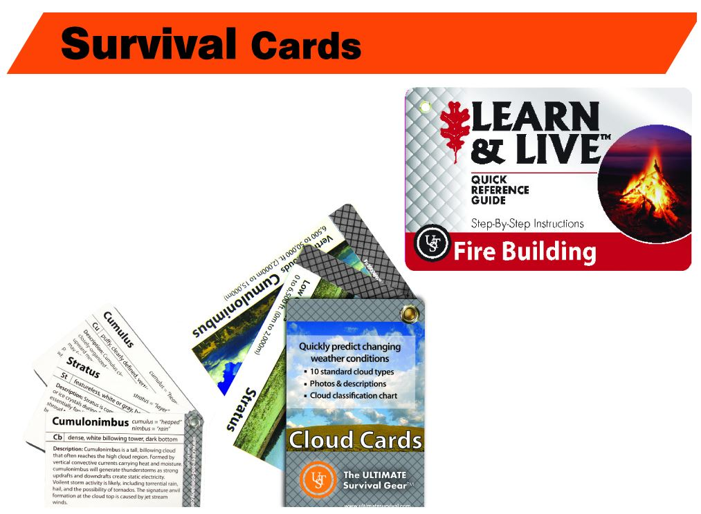 Learn & Live Survival Cards Fire Building Step-By-Step Instructions