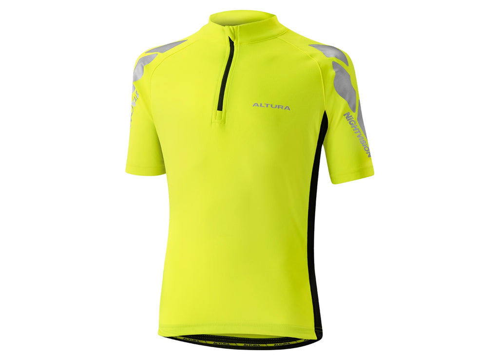 2017 Altura Kids Night Vision Short Sleeve Jersey Hi-Viz Yellow/Black