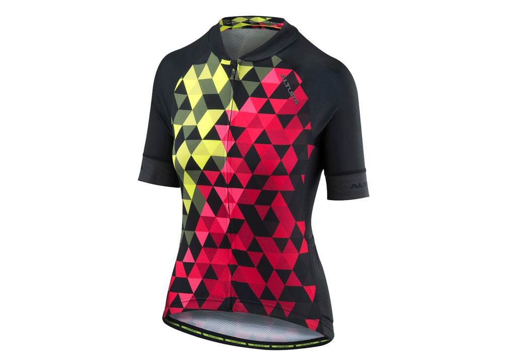 2018 Altura Womens Peloton Short Sleeve Mosaic Jersey Yellow/Red