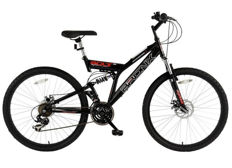 "B Grade Bronx Bolt Gents 18"" Dual Suspension Dual Disc 21sp Mountain Bike"