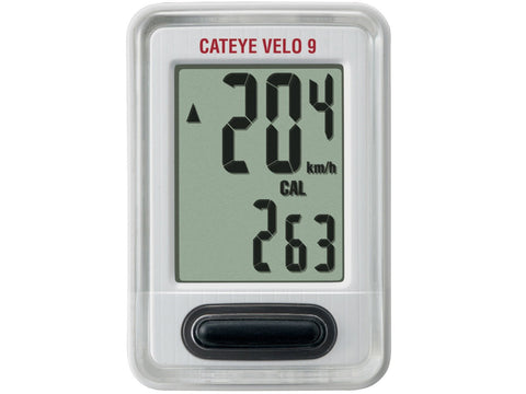 Cateye Velo 9 Wired Cycle Computer White