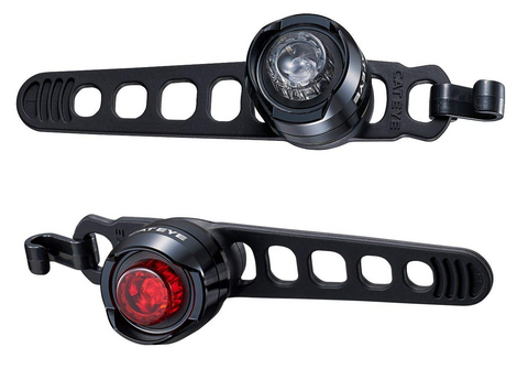 Cateye Front and Rear Orb LED Bicycle Lightset SL-LD160-F Polished Black