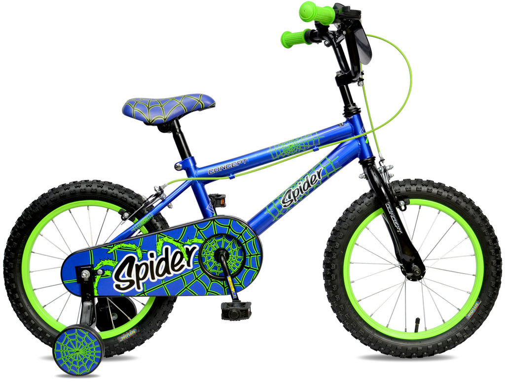 "Concept Spider 16"" Wheel Boys Mountain Bike Blue/Green"