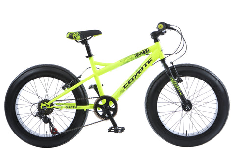 "B Grade Coyote Ghetto Fat Bike 20"" x 3"" Neon Yellow"