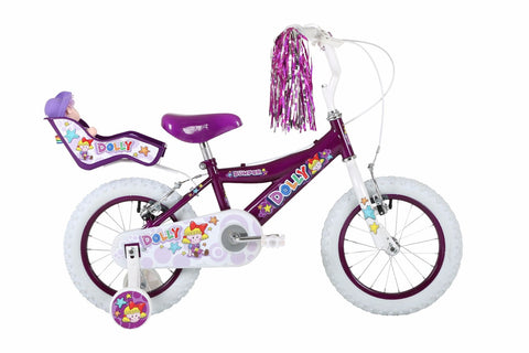 "Bumper Dolly 16"" Girls Mountain Bike Purple/White"