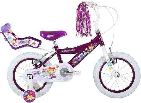 "Bumper Dolly 12"" Girls Mountain Bike Purple/White"