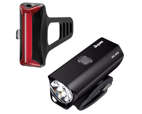 Guee SOL 300E Front & Cob-X Rear Rechargeable Bike Lightset