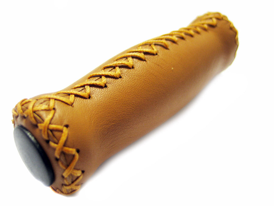 Velo Real Tan Leather Bicycle Handlebar Grips