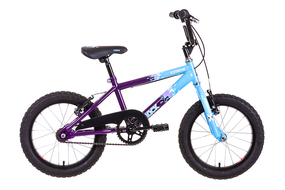 "Extreme Kick 16"" Wheel Kids BMX Bike Blue/Purple"