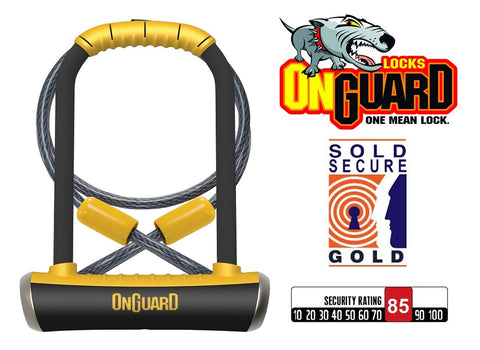 Onguard Pitbull Std 8005 Shackle Lock+Cable Gold Sold Secure Bike D U Lock