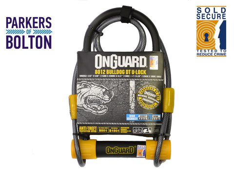 OnGuard Magnum Bulldog 8012 Shackle Lock+Cable Silver Sold Secure Bike D U Lock