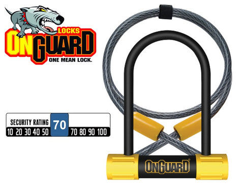 OnGuard Bulldog 8015 Mini DT Shackle Lock+Cable Bike D U Lock