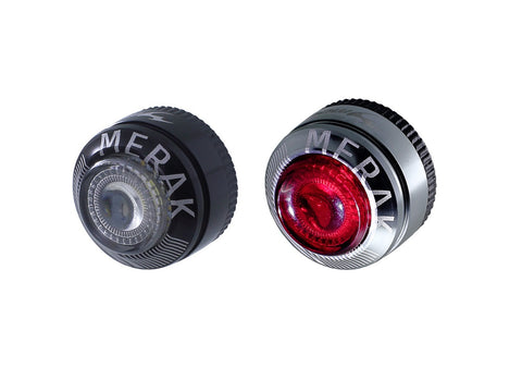 Moon Merak Front And Rear Silver LED Bicycle Light Set
