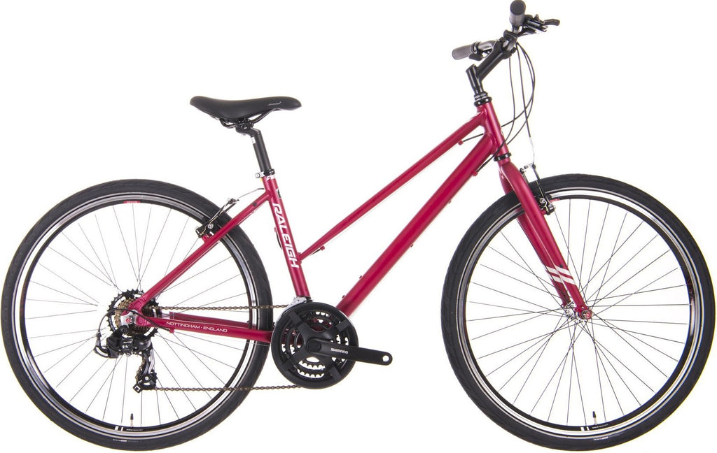 Raleigh Strada 1 Womens 21 Speed 650b Hybrid Bike Raspberry