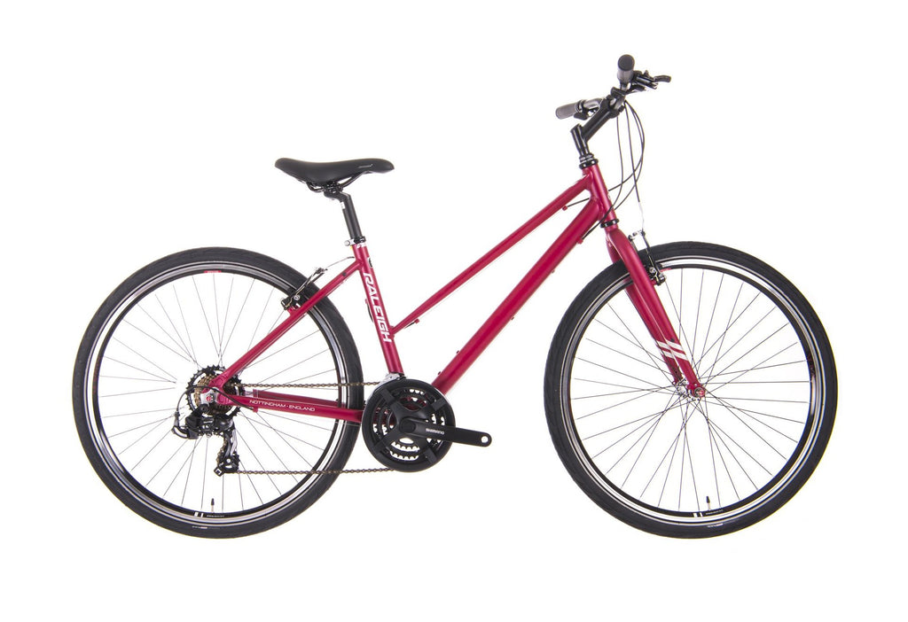 "B Grade Raleigh Strada 1 17"" Womens 21 Speed 650b Hybrid Bike Raspberry"