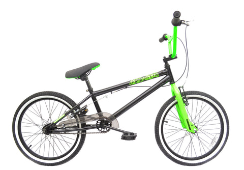 "Rooster Jamminator 20"" BMX Bike Black/Green with 36 Spoke Wheels"