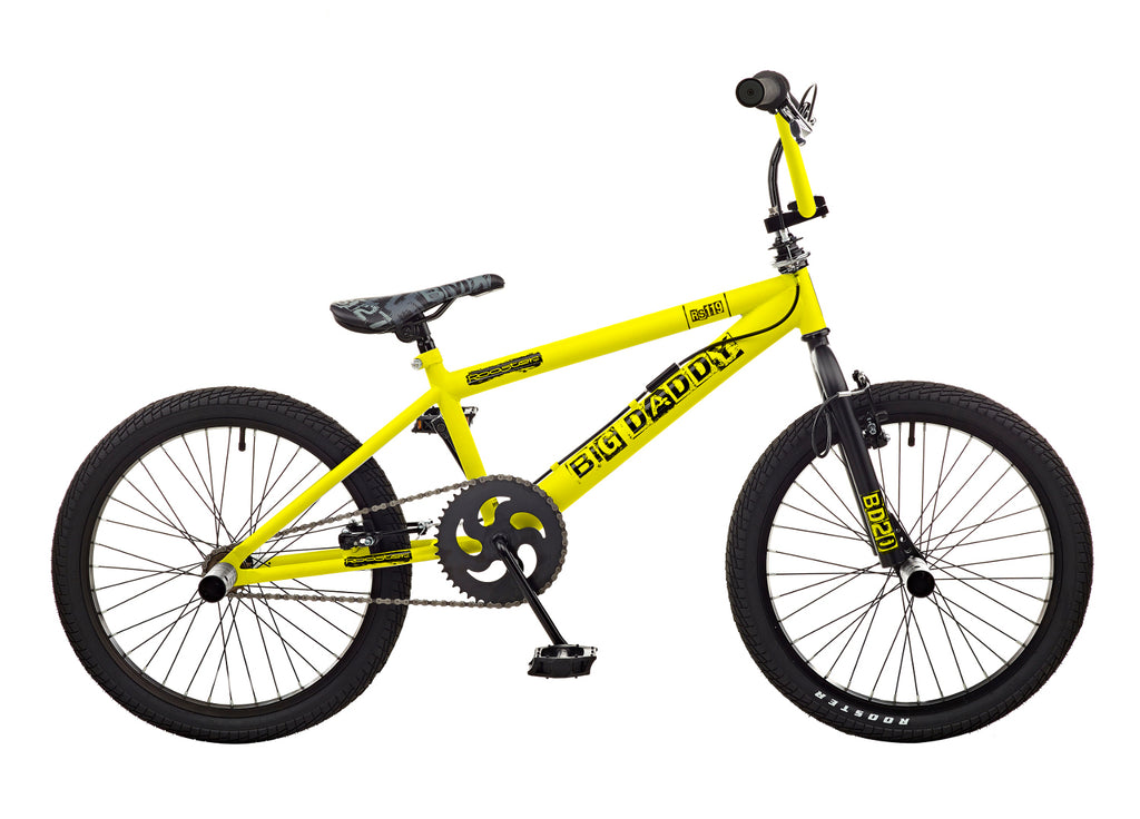 B Grade Rooster Big Daddy 20 BMX Yellow/Black with Spoke Wheels
