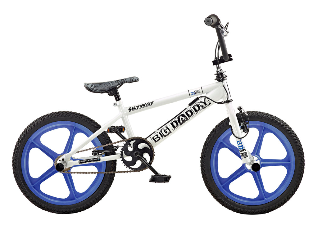 B Grade Rooster Big Daddy 18 BMX White/Blue with Skyway Mag Wheels
