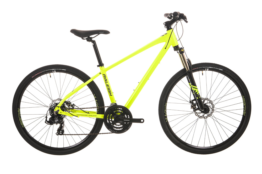 Raleigh Strada TS 1 650b Wheel Neon Yellow Hybrid Bike