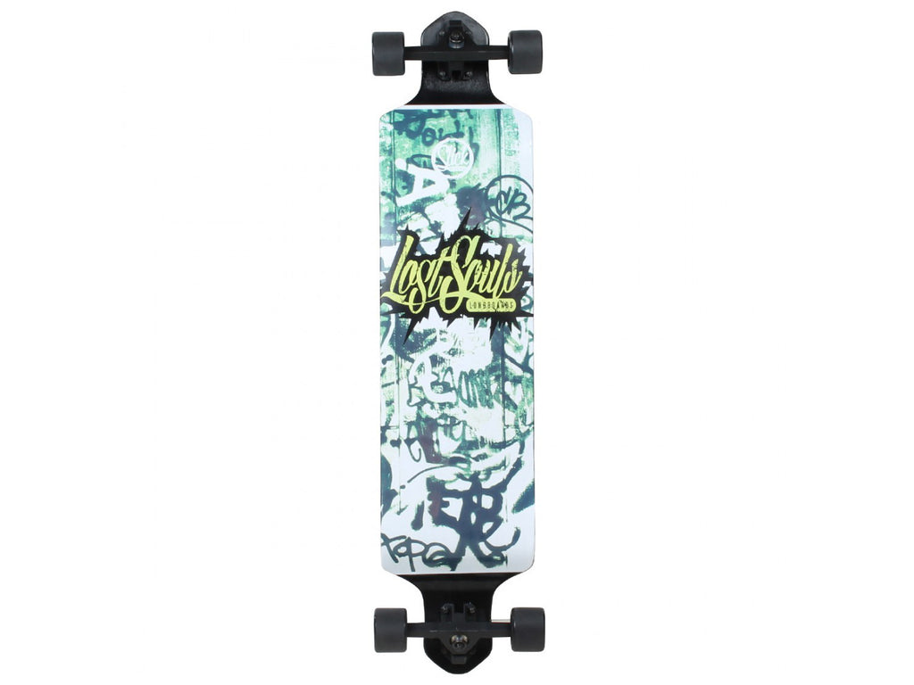 Slick Longboard Drop Down Graffiti Complete Longboard