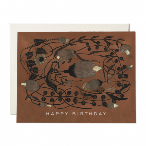 Brown Floral Birthday Card