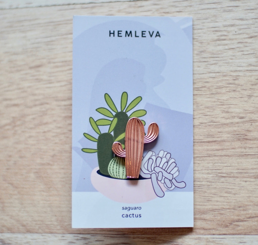Hemleva | Rose Gold Cactus Pin