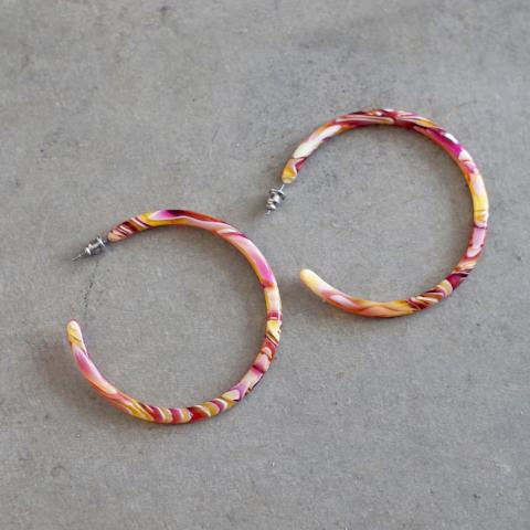 Machete | Pink Swirl Large Hoops